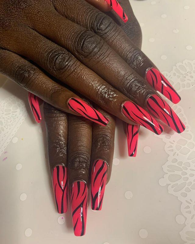 "<p>For those of you who are ant-heart motifs, I'd suggest a funky animal nail, instead (in highlighter pink). </p><p><a href=""https://www.instagram.com/p/B8B9GgZAL3R/"" rel=""nofollow noopener"" target=""_blank"" data-ylk=""slk:See the original post on Instagram"" class=""link rapid-noclick-resp"">See the original post on Instagram</a></p>"