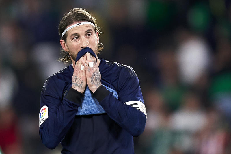 SEVILLE, SPAIN - MARCH 08: Sergio Ramos of Real Madrid CF reacts during the Liga match between Real Betis Balompie and Real Madrid CF at Estadio Benito Villamarin on March 08, 2020 in Seville, Spain. (Photo by Mateo Villalba/Quality Sport Images/Getty Images)