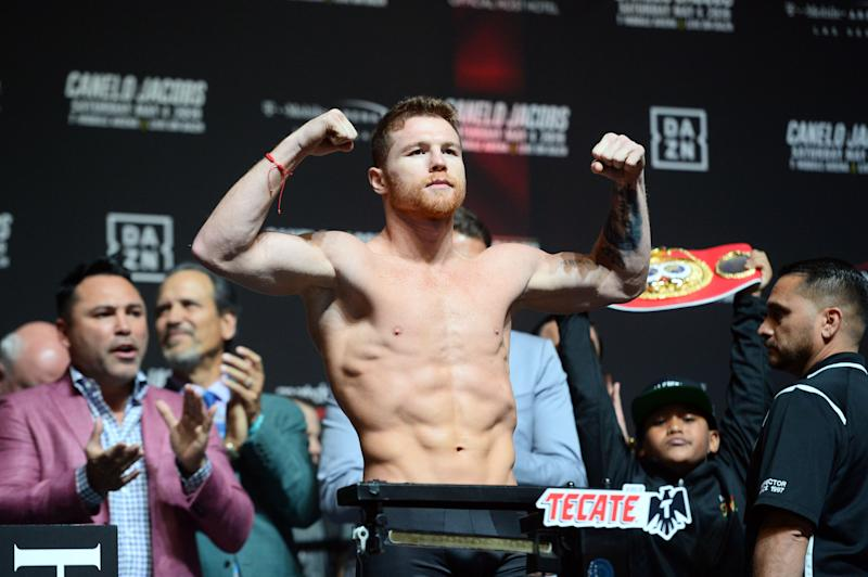 May 3, 2019; Las Vegas, NV, USA; Canelo Alvarez weighs in for the middleweight world championship boxing match against Daniel Jacobs (not pictured) at T-Mobile Arena. Mandatory Credit: Joe Camporeale-USA TODAY Sports
