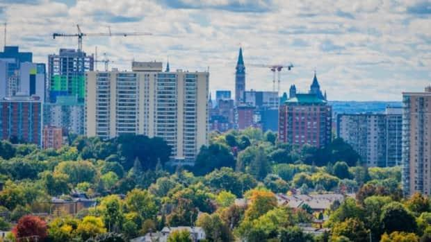 Ottawa's skyline, including Parliament Hill in the middle, as seen from the east earlier this week. (Michel Aspirot/CBC - image credit)