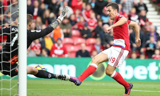 "<span class=""element-image__caption"">Stewart Downing, scoring here for Middlesbrough against Bournemouth, is influential in the dressing room and proved the wrong man for Aitor Karanka to fall out with.</span> <span class=""element-image__credit"">Photograph: Scott Heppell/Reuters</span>"