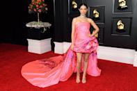 <p>Debi Nova hit the Grammys red carpet in a Georges Chakra dress with Sophia Webster shoes and Fallon jewels.</p>