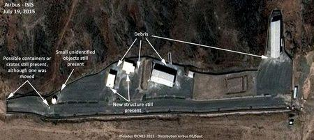 Institute for Science and International Security photo shows the status of the site at the Parchin military complex that has been linked to high explosive work