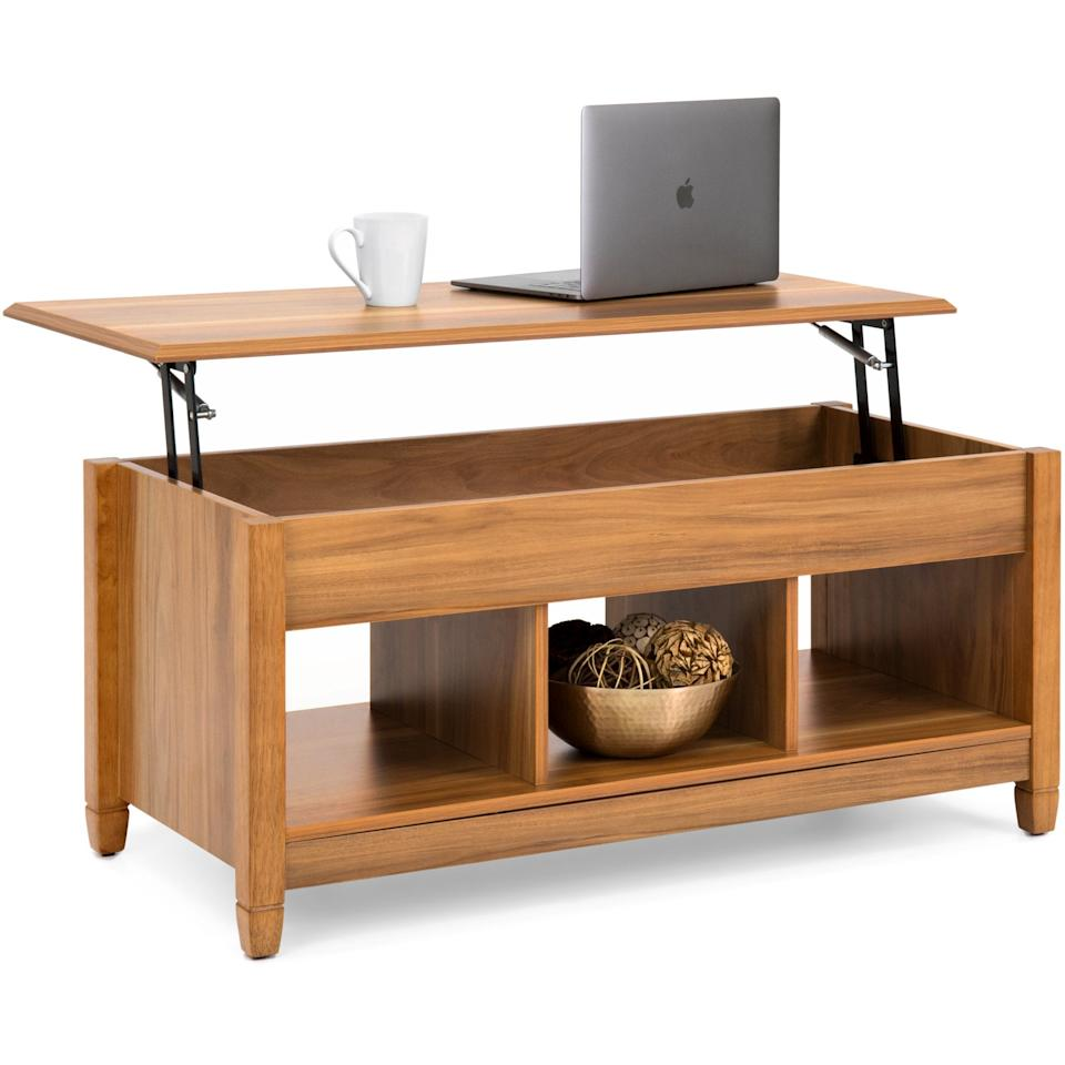 """<p>The color of this <a href=""""https://www.popsugar.com/buy/Best-Choice-Products-Modern-Multifunctional-Coffee-Table-494370?p_name=Best%20Choice%20Products%20Modern%20Multifunctional%20Coffee%20Table&retailer=walmart.com&pid=494370&price=135&evar1=casa%3Aus&evar9=46006662&evar98=https%3A%2F%2Fwww.popsugar.com%2Fphoto-gallery%2F46006662%2Fimage%2F46679514%2FBest-Choice-Products-Modern-Multifunctional-Coffee-Table&list1=shopping%2Chome%20decor%2Cfurniture%2Cliving%20rooms%2Chome%20shopping&prop13=api&pdata=1"""" rel=""""nofollow"""" data-shoppable-link=""""1"""" target=""""_blank"""" class=""""ga-track"""" data-ga-category=""""Related"""" data-ga-label=""""https://www.walmart.com/ip/Best-Choice-Products-Wooden-Modern-Multifunctional-Coffee-Dining-Table-for-Living-Room-Decor-Display-w-Hidden-Storage-and-Lift-Tabletop-Brown/900721702"""" data-ga-action=""""In-Line Links"""">Best Choice Products Modern Multifunctional Coffee Table</a> ($135) is great if you want something light.</p>"""