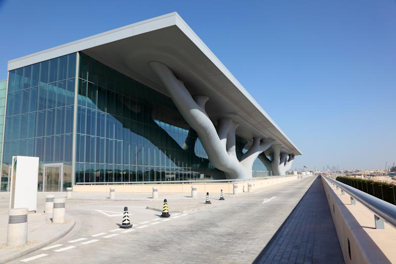 The Qatar National Convention Centre in Doha, designed by Isozaki in partnership with RHWL Architects