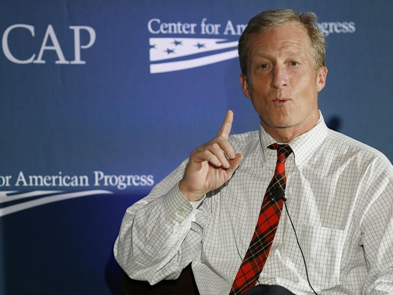 Tom Steyer, seen here at the Center for American Progress in Washington, DC, U.S. on November 19, 2014, is spending millions to impeach Donald Trump: REUTERS/Gary Cameron/File Photo