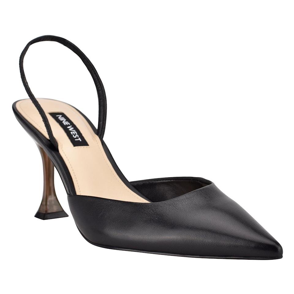 <p>I most often get asked about heels, and hands down, my go-to pair is the <span>Nine West Happy Pointy Toe Heeled Slingbacks</span> ($99). Not only is the slingback a chic look, but the strap gives extra support. Plus, the cute and sturdy heel is easy to walk and stand on. I could truly spend hours in these. Plus, they also come in white, pink, and even a bold yellow shade.</p>