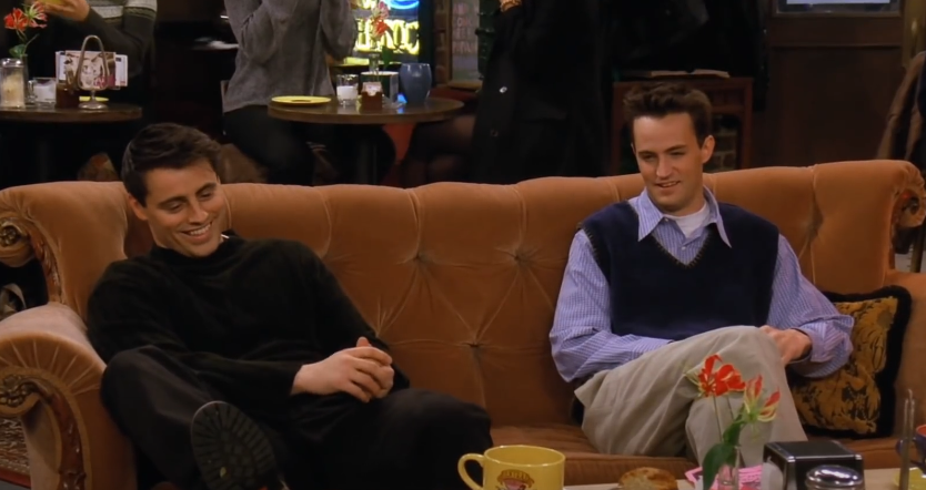 """<p>Throughout <em>Friends</em>, Chandler is constantly """"loaning"""" Joey money. One Reddit user added it all up, and came to the conclusion that <a href=""""https://www.buzzfeed.com/rachelzarrell/someone-figured-out-how-much-money-joey-owed-chandler-on-fri"""" rel=""""nofollow noopener"""" target=""""_blank"""" data-ylk=""""slk:Chandler lends Joey more than $100,000 (!!!)"""" class=""""link rapid-noclick-resp"""">Chandler lends Joey more than $100,000 (!!!)</a> throughout the course of the series—guess Chandler's job as a """"<a href=""""https://www.youtube.com/watch?v=uYM1uQ7QrTc"""" rel=""""nofollow noopener"""" target=""""_blank"""" data-ylk=""""slk:transponster"""" class=""""link rapid-noclick-resp"""">transponster</a>"""" pays pretty well. Considering that we rarely see Joey pay him back, Chandler must have followed the <a href=""""https://www.lifehack.org/409169/5-golden-rules-for-lending-money-to-friends-and-family"""" rel=""""nofollow noopener"""" target=""""_blank"""" data-ylk=""""slk:golden rule of loaning money to friends"""" class=""""link rapid-noclick-resp"""">golden rule of loaning money to friends</a>: Assume it's a gift, not a loan, and don't fork over more than you can realistically afford. </p>"""