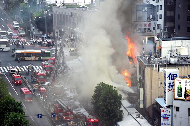 <p>A fire destroyed several buildings outside Tokyo's famed Tsukiji fish market on August 3, 2017 in Tokyo, Japan. (Photo: The Asahi Shimbun via Getty Images) </p>