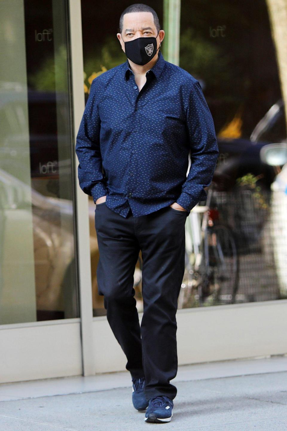 <p>Ice T steps out while on break from filming <em>Law and Order: SUV</em> on Friday in N.Y.C.'s Chelsea neighborhood.</p>
