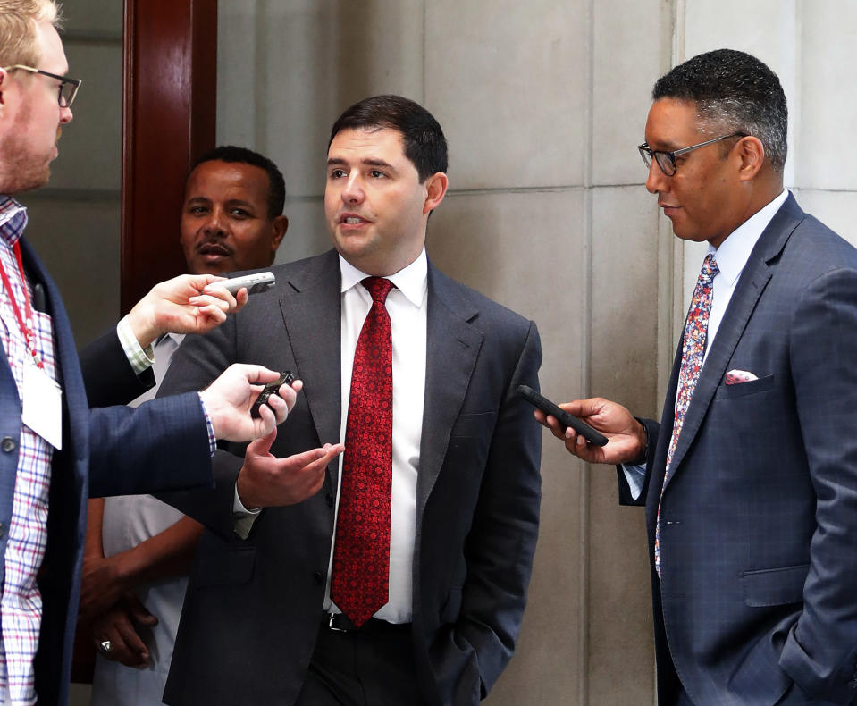 San Francisco 49er's owner Jed York talks with reporters as he leaves the NFL owner's spring meeting Wednesday, May 23, 2018, in Atlanta. York abstained from voting on the NFL's new national anthem policy. (AP Photo/John Bazemore)