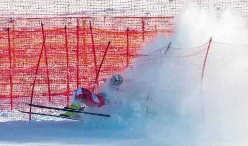 Austria's Vincent Kriechmayr crashed during a downhill practice run on Thursday