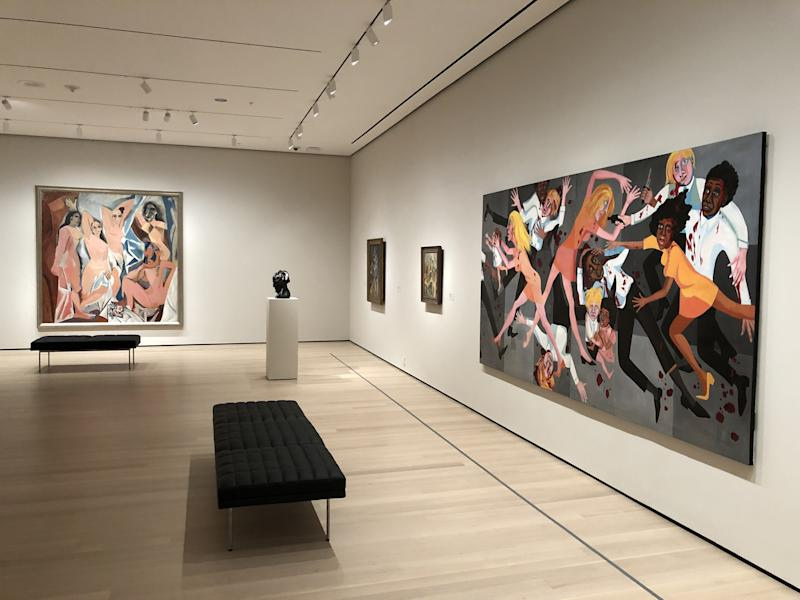 Pablo Picasso's Les Demoiselles d'Avignon, 1907 (far left) next to American People Series #20: Die (1967), by Faith Ringgold (right).