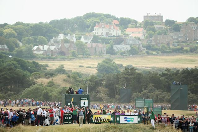 GULLANE, SCOTLAND - JULY 21: Ryan Moore of the United States tees off on the 4th hole during the final round of the 142nd Open Championship at Muirfield on July 21, 2013 in Gullane, Scotland. (Photo by Andrew Redington/Getty Images)