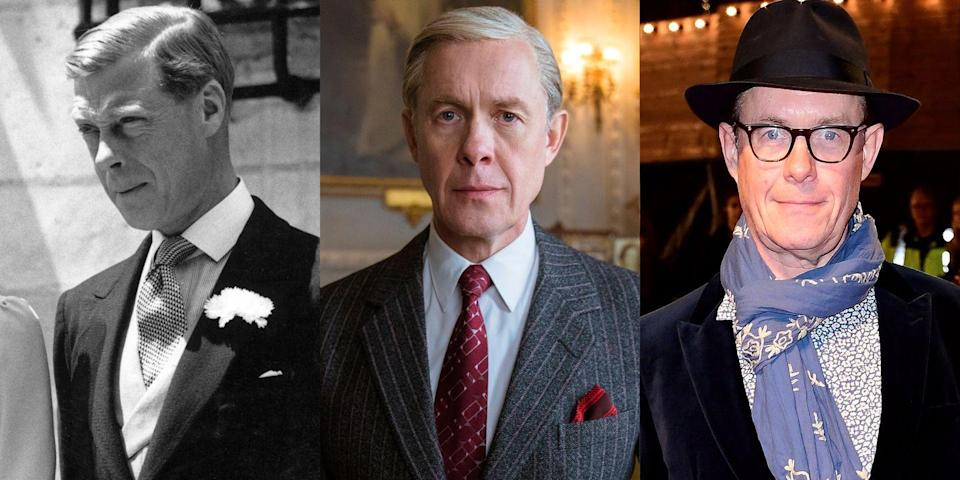 "<p>You might recognize Olivier Award-winning actor Alex Jennings, who played the Duke of Windsor, from <em><a href=""https://www.amazon.com/Bridget-Jones-Reason-Renee-Zellweger/dp/B002WQBB2G/?tag=syn-yahoo-20&ascsubtag=%5Bartid%7C10056.g.7996%5Bsrc%7Cyahoo-us"" rel=""nofollow noopener"" target=""_blank"" data-ylk=""slk:Bridget Jones: The Edge of Reason"" class=""link rapid-noclick-resp"">Bridget Jones: The Edge of Reason</a></em>, <em><a href=""https://www.amazon.com/Queen-Helen-Mirren/dp/B006RXQ2CY/?tag=syn-yahoo-20&ascsubtag=%5Bartid%7C10056.g.7996%5Bsrc%7Cyahoo-us"" rel=""nofollow noopener"" target=""_blank"" data-ylk=""slk:The Queen"" class=""link rapid-noclick-resp"">The Queen</a></em>, or Masterpiece PBS's <em>Victoria</em>.</p>"