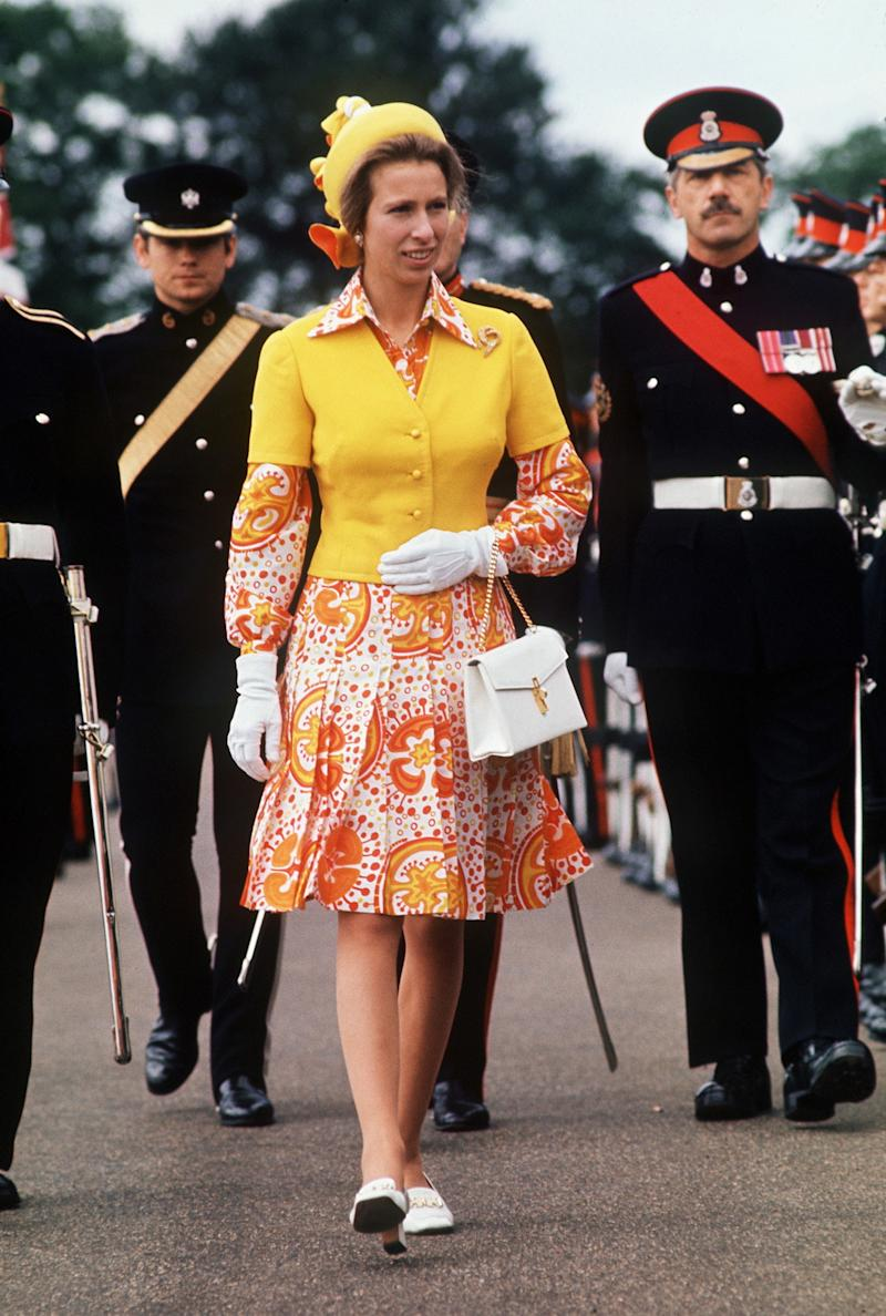 Princess Anne at a parade at Sandhurst Military Academy, August 1973.