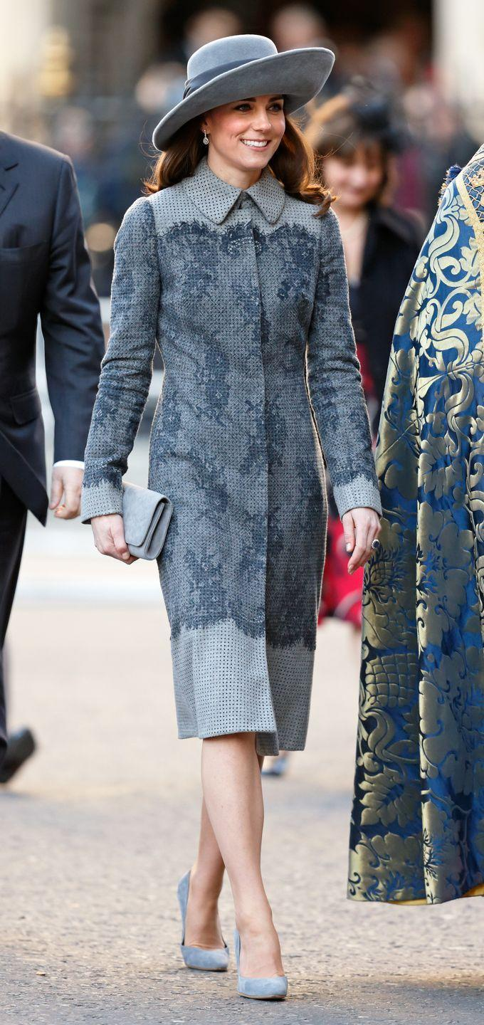 <p>Kate attends the Commonwealth Observance Day Service at Westminster Abbey in all grey complete with suede pumps and a felt hat. </p>