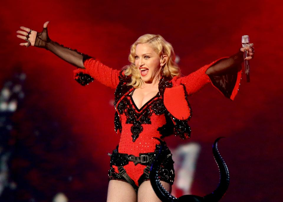 Madonna onstage during The 57th Annual GRAMMY Awards at STAPLES Center on February 8, 2015 in Los Angeles, California.