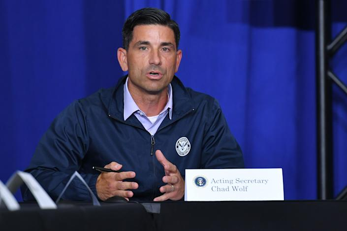 Acting Homeland Security Secretary Chad Wolf speaks during a roundtable discussion on community safety, at Mary D. Bradford High School in in Kenosha, Wisconsin on September 1, 2020. (Mandel Ngan/AFP via Getty Images)