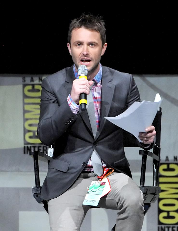 """SAN DIEGO, CA - JULY 12:  Chris Hardwick speaks at the """"Frankenweenie"""" panel during Comic-Con International 2012 at San Diego Convention Center on July 12, 2012 in San Diego, California.  (Photo by Kevin Winter/Getty Images)"""