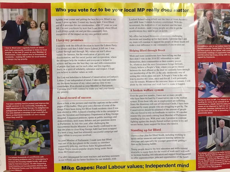 Gapes' leaflet (Photo: HuffPost UK)