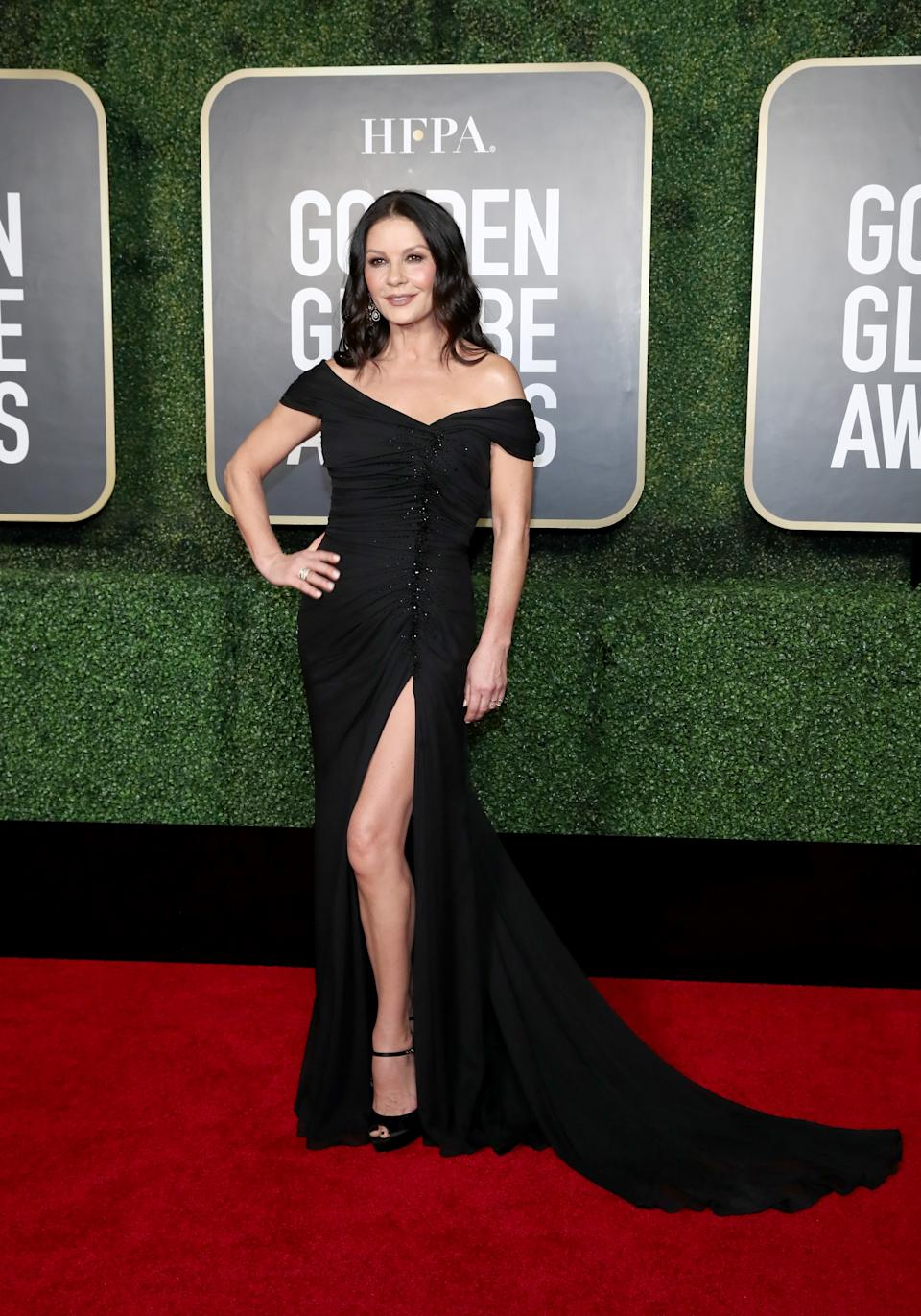 Catherine Zeta-Jones attends the 78th Annual Golden Globe Awards held at The Rainbow Room and broadcast on February 28, 2021 in New York, New York