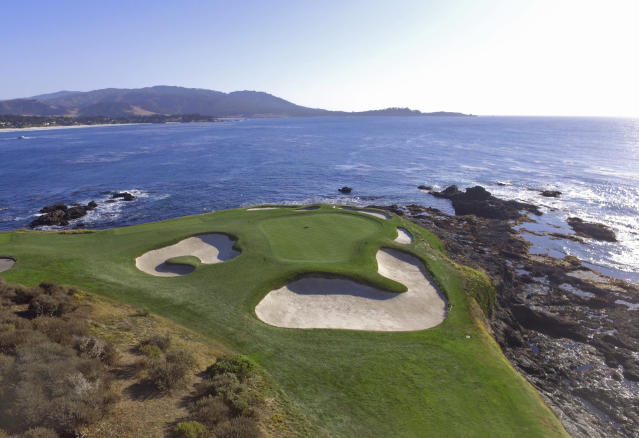 This Nov. 8, 2018 photo shows an aerial view of the seventh green of the Pebble Beach Golf Links in Pebble Beach, Calif. The U.S. Open golf tournament is scheduled at Pebble Beach from June 13-16, 2019. (AP Photo/Terry Chea)