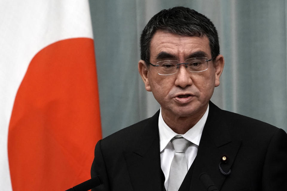 Taro Kono, Japan's minister in charge of administrative reform. Photo: Eugene Hoshiko/AP
