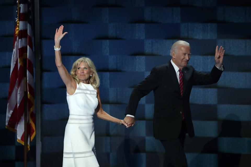 PHILADELPHIA, PA - JULY 27: US Vice President Joe Biden and his wife Jill Biden, wave to the crowd after delivering remarks on the third day of the Democratic National Convention at the Wells Fargo Center, July 27, 2016 in Philadelphia, Pennsylvania. Democratic presidential candidate Hillary Clinton received the number of votes needed to secure the party's nomination. An estimated 50,000 people are expected in Philadelphia, including hundreds of protesters and members of the media. The four-day Democratic National Convention kicked off July 25. (Photo by Alex Wong/Getty Images)