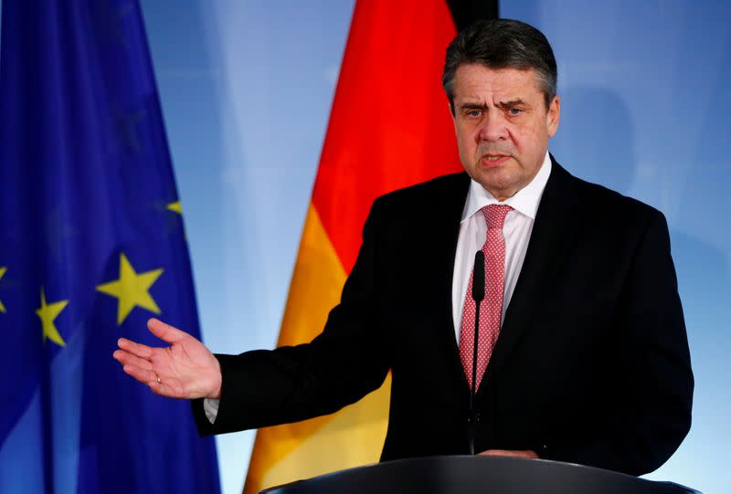 FILE PHOTO: German Foreign Minister Sigmar Gabriel gestures after a meeting with his counterpart from Bosnia and Herzegovina, Igor Crnadak, in Berlin