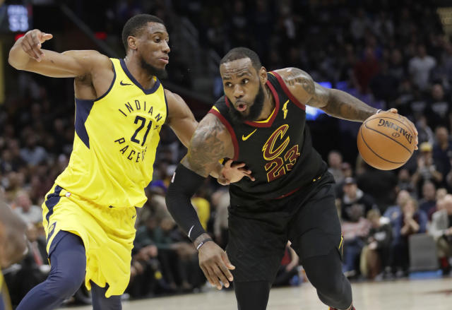 LeBron James drives against the Pacers' Thaddeus Young during Game 7 on Sunday in Cleveland. (AP)