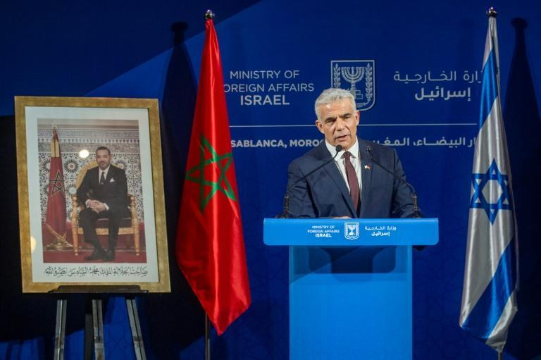 Israeli Foreign Minister Yair Lapid on a landmark visit to Casablanca, Morocco, on August 12, 2021 (AFP/-)