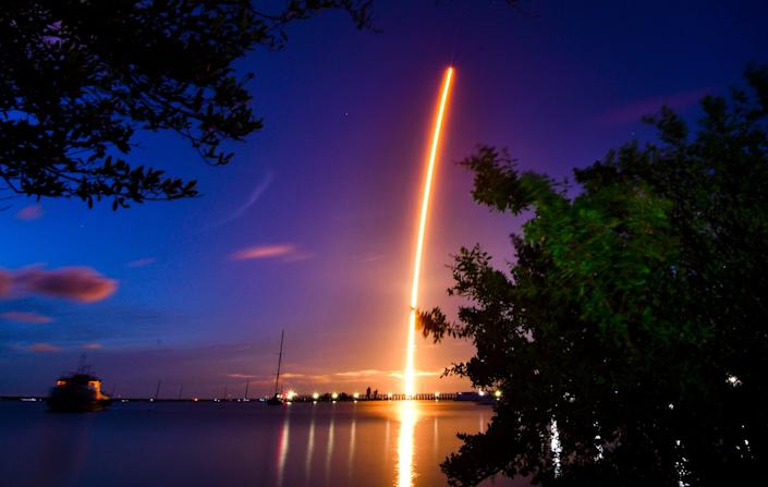 The launch of a SpaceX Crew Dragon capsule atop a Falcon 9 rocket on the Inspiration4 mission launched from Pad 39A at Kennedy Space Center.
