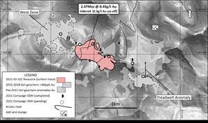 Florin Project drill campaign, location of 2.47Moz gold inferred resource, adjacent soil anomalies and old workings