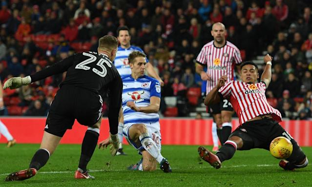 Sunderland keeper Robbin Ruiter is left stranded as David Edwards puts the ball past Tyias Browning for Reading's first goal.