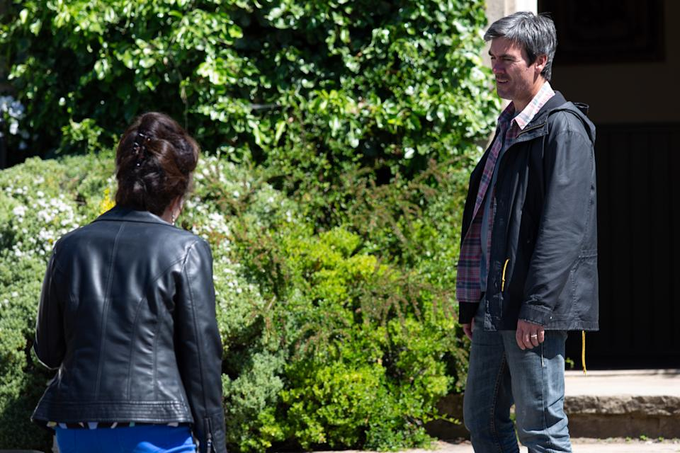 FROM ITV  STRICT EMBARGO  Print media - No Use Before Tuesday 27th July 2021 Online Media - No Use Before Tuesday 27th July 2021  Emmerdale - Ep 9117  Wednesday 4th August 2021   When Cain Dingle [JEFF HORDLEY] questions Faith Dingle [SALLY DEXTER] about her results she's forced to admit she's got them. He's angry she lied to him - he can't trust her and casts her out of the family.    Picture contact David.crook@itv.com  Photographer - Mark Bruce   This photograph is (C) ITV Plc and can only be reproduced for editorial purposes directly in connection with the programme or event mentioned above, or ITV plc. Once made available by ITV plc Picture Desk, this photograph can be reproduced once only up until the transmission [TX] date and no reproduction fee will be charged. Any subsequent usage may incur a fee. This photograph must not be manipulated [excluding basic cropping] in a manner which alters the visual appearance of the person photographed deemed detrimental or inappropriate by ITV plc Picture Desk. This photograph must not be syndicated to any other company, publication or website, or permanently archived, without the express written permission of ITV Picture Desk. Full Terms and conditions are available on  www.itv.com/presscentre/itvpictures/terms