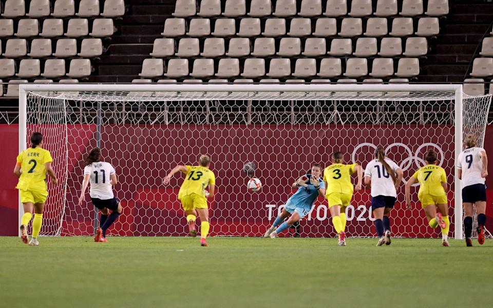 Caroline Weir's penalty is saved in extra time - Getty Images