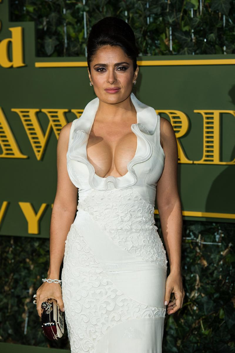 Salma Hayek in a white low cut dress