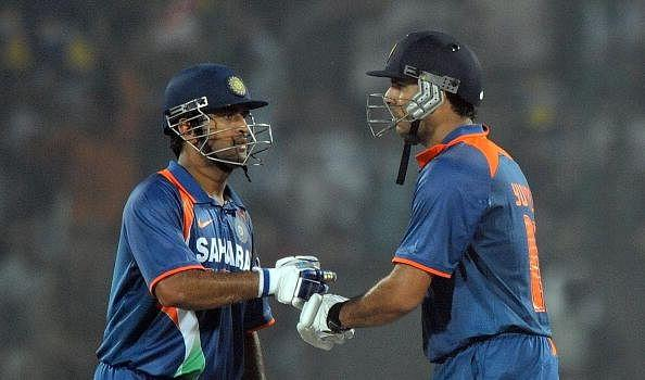 MS Dhoni and Yuvraj Singh in-between their epic partnership
