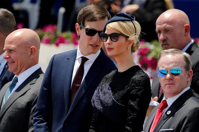 White House senior adviser Jared Kushner with his wife, Ivanka Trump, during a welcoming ceremony for her father at Ben Gurion International Airport in Tel Aviv on May 22. (Photo: Jonathan Ernst/Reuters)