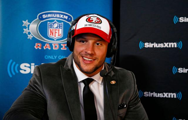 San Francisco 49ers first round pick Nick Bosa apologized for past social media comments critical of Colin Kaepernick during his introductory press conference on Friday. (Wade Payne/AP Images for SiriusXM)