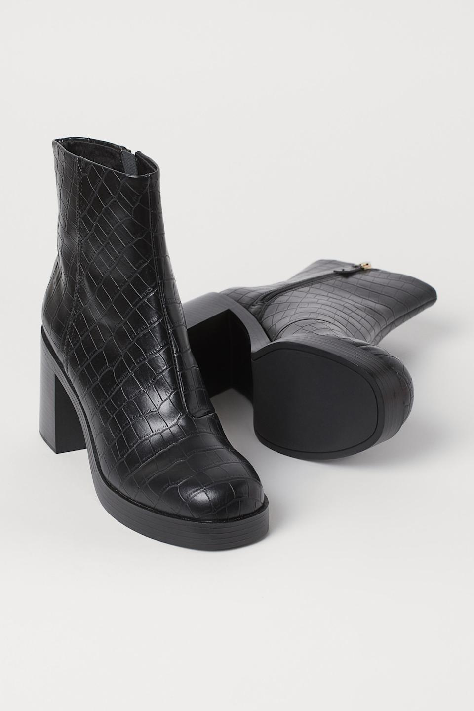 """<br><br><strong>H&M</strong> Block-Heeled Ankle Boots, $, available at <a href=""""https://go.skimresources.com/?id=30283X879131&url=https%3A%2F%2Fwww2.hm.com%2Fen_us%2Fproductpage.0898885002.html"""" rel=""""nofollow noopener"""" target=""""_blank"""" data-ylk=""""slk:H&M"""" class=""""link rapid-noclick-resp"""">H&M</a>"""