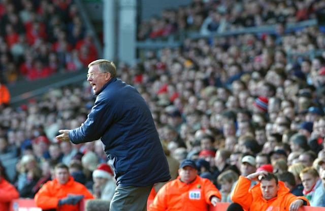 LIVERPOOL, ENGLAND - DECEMBER 12: Sir Alex Ferguson shouts from the touchline during the FA Barclaycard Premiership match between Liverpool v Manchester United at Anfield on December 12, 2002 in Liverpool, England. (Photo by John Peters/Manchester United via Getty Images)