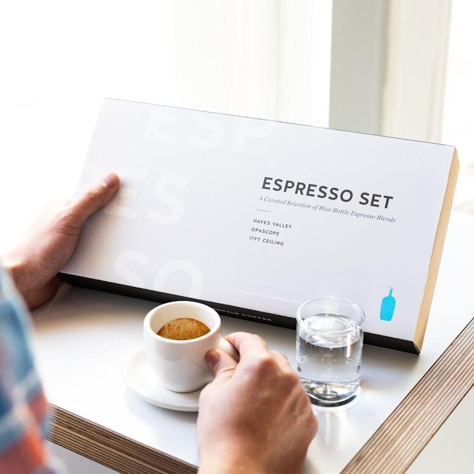 "If your mom swears by her morning cup of joe, expand her java palette with a gift set or <a href=""https://www.glamour.com/gallery/coffee-subscription-boxes?mbid=synd_yahoo_rss"" rel=""nofollow noopener"" target=""_blank"" data-ylk=""slk:coffee subscription"" class=""link rapid-noclick-resp"">coffee subscription</a> from renowned café Blue Bottle Coffee. Even a <a href=""https://www.glamour.com/gallery/gifts-for-coffee-lovers?mbid=synd_yahoo_rss"" rel=""nofollow noopener"" target=""_blank"" data-ylk=""slk:coffee snob"" class=""link rapid-noclick-resp"">coffee snob</a> would approve. $66, Blue Bottle Coffee. <a href=""https://bluebottlecoffee.com/store/espresso-set"" rel=""nofollow noopener"" target=""_blank"" data-ylk=""slk:Get it now!"" class=""link rapid-noclick-resp"">Get it now!</a>"