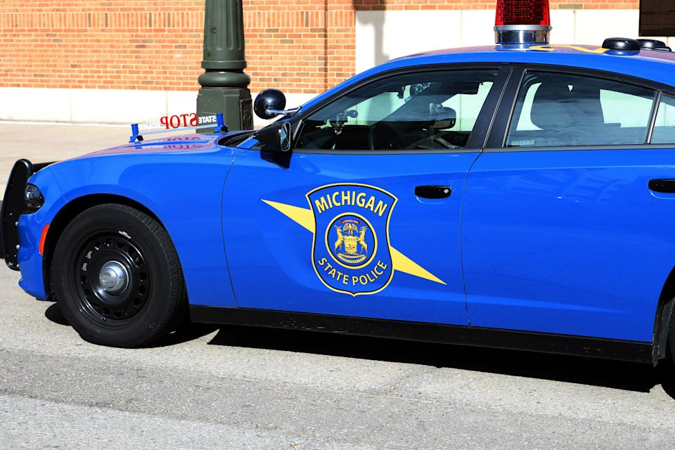DETROIT -  SEPTEMBER 27:  A Michigan State Police vehicle sits parked outside Comerica Park in Detroit, Michigan on September 27, 2019.  (Photo By Raymond Boyd/Getty Images)