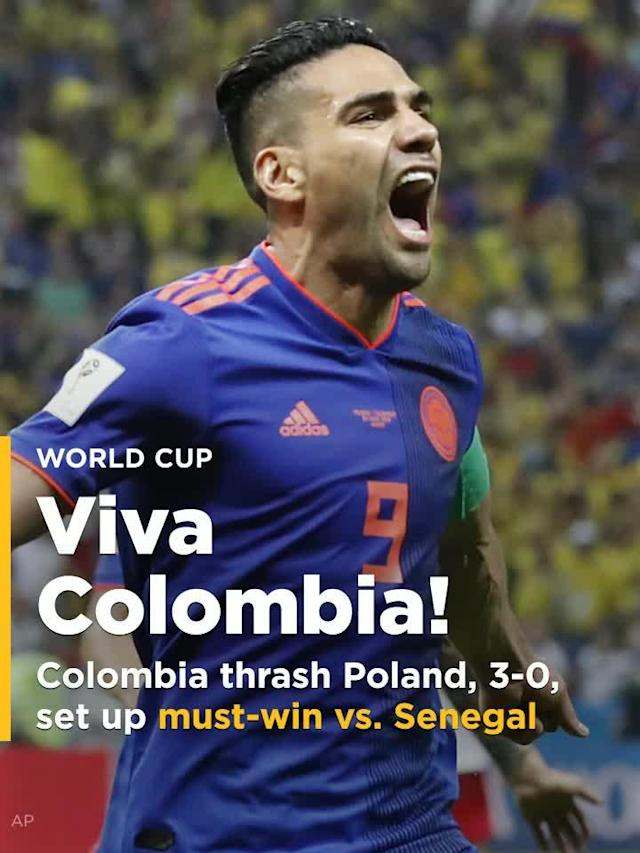 Colombia thrashed Poland, to the tune of 3-0, in the two sides' must-win game in Group H play at the 2018 World Cup on Sunday, getting goals from Yerry Mina, Radamel Falcao and Juan Cuadrado to leave their destiny in their own hands ahead of Thursday's decisive group finale against Senegal.
