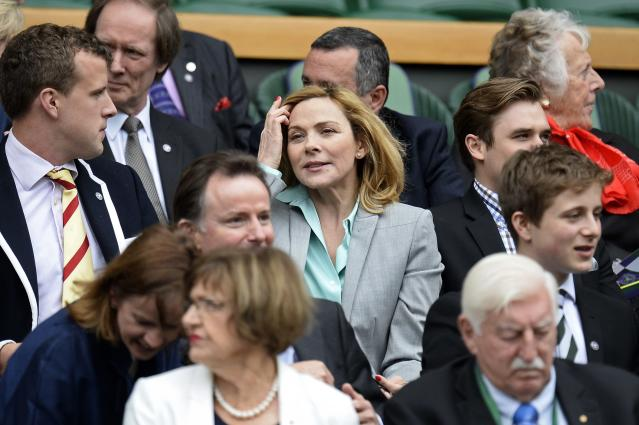 LONDON, ENGLAND - JULY 02: Kim Cattrall sits in the Royal Box before the Ladies' Singles quarter-final match between Agnieszka Radwanska of Poland and Na Li of China on day eight of the Wimbledon Lawn Tennis Championships at the All England Lawn Tennis and Croquet Club at Wimbledon on July 2, 2013 in London, England. (Photo by Dennis Grombkowski/Getty Images)