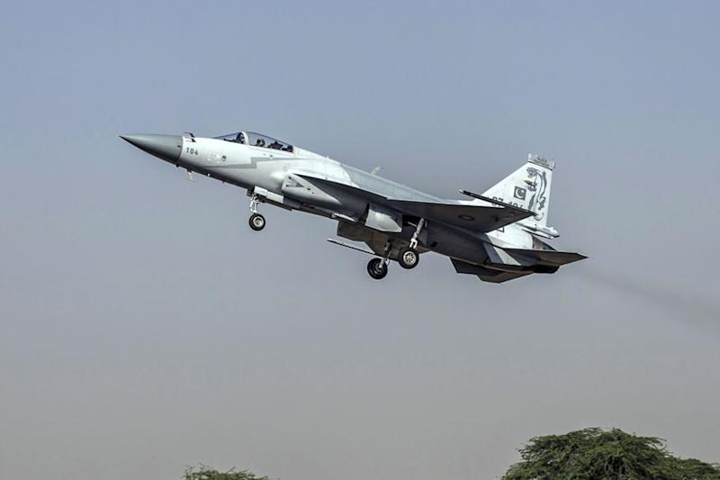 A JF-17 Thunder fighter jet of the Pakistan Air Force takes off from Mushaf base in Sargodha, north Pakistan. Image: Reuters