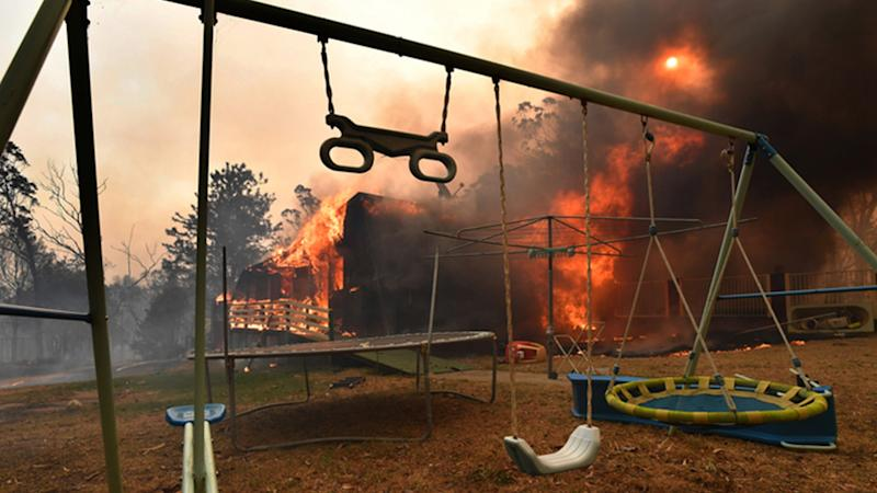 A home destroyed by a bushfire on Hassall Road in Buxton amid the Green Wattle Creek Fire.