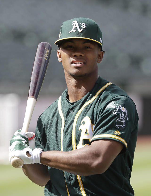 Oakland Athletics' Kyler Murray waits to hit during batting practice before a baseball game against the Los Angeles Angels in Oakland, Calif., Friday, June 15, 2018. (AP Photo/Jeff Chiu)